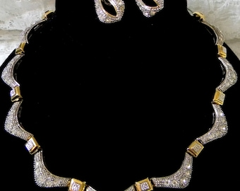 Stunning Two Tone Rhinestone Necklace & Earring Set /  Silver tone  /