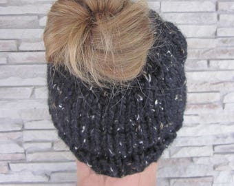 Pony tail hat- Messy Bun Hat-Knit Pony tail hat beanie- Obsidian-Black Hat