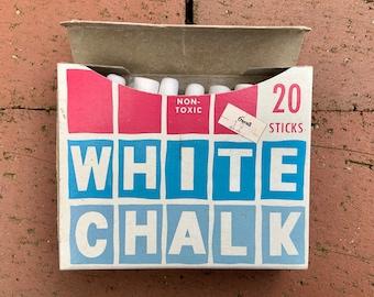 Vintage Box of Blendwell White Chalk - Vintage School Supply - Retro Packaging - Vintage Art Supplies