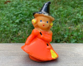 Vintage Gurley Witch in Orange Dress Candle - Cute Girl Witch with Broom - Gurley Novelty Halloween Candle Midcentury - Friendly Witch (W4)