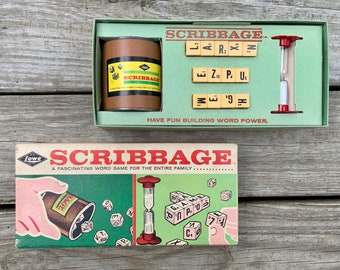 Vintage 1963 Scribbage Game - Family Word Game - Retro Games - letter dice - Complete Vintage Game - E.S. Lowe Company Made in USA