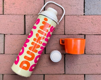 Vintage 1980s Dunkin Donuts Thermos - large retro thermos with cap and cup - Dunkin Donuts Collectible - orange and hot pink logo