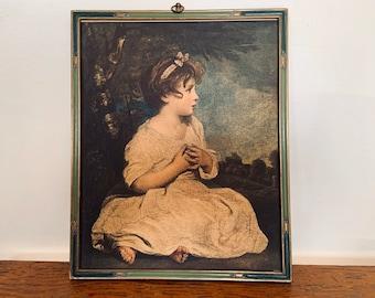 Vintage Print of Joshua Reynolds' Age of Innocence in Blue and Green Deco Jordan Marsh Frame - pastoral art girl in white dress