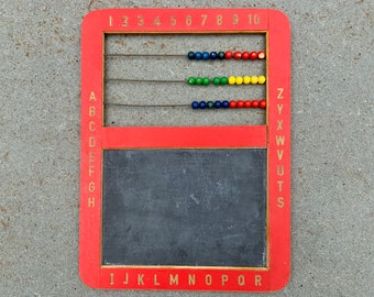 Vintage Child's Chalkboard and Abacus - with alphabet and numbers - Wooden Bead Abacus - Red Wooden Abacus - Vintage School