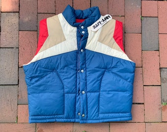 Vintage Men's Puffy Vest by Weather Watcher - Old Stock with Tags - red, White, Blue and Tan Color Block - Vintage Size XL - Retro Winter