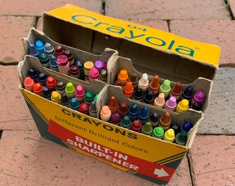 Vintage Box of Binney & Smith Crayola Crayons - no. 64 box with built-in sharpener - New York Made in USA - vintage art supply