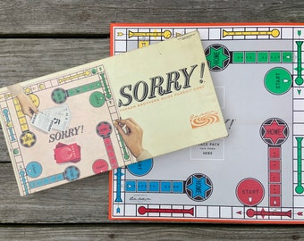 Vintage 1964 Sorry Game - Family Board Game - Retro Games - vintage game board - Complete Vintage Game - Parker Brothers Made in USA