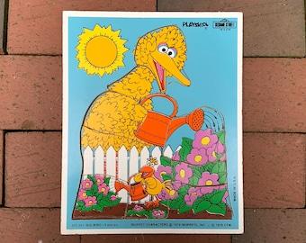 Vintage Big Bird Playskool Puzzle - Whoops - 315-20 Sesame Street Preschool Puzzle - 1979 - Big Bird and Little Bird - Manufacture Error