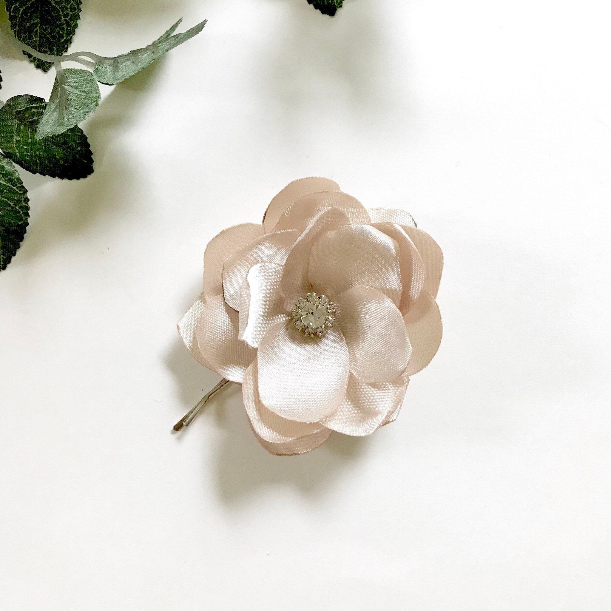 Light Taupe Silk Flower Pin Bridal Hair Pin Rhinestone Etsy
