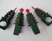 4 vintage Dept 56 Christmas tree napkin rings - wood, red and green, star, hearts, 80s
