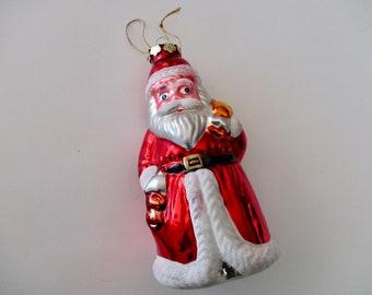 Set of 11  Hand-painted and 5 Tall  Old World Christmas Retro Christmas Decor Rare Hard Plastic SANTA FACE ORNAMENTS