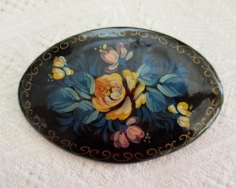 Vintage Russian Lacquer HP Portrait Pin Brooch Signed