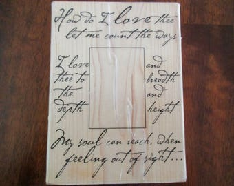 How Do I Love Thee wedding couple rubber stamp mounted on wood anniversary