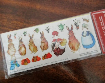 1970s vintage Peter Rabbit stickers - new in original package, paper dolls, Easter, bunny, Merrimack Publishing