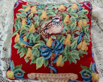 vintage needlepoint CHRISTMAS pillow - a partridge in a pear tree - The Twelve Days of Christmas