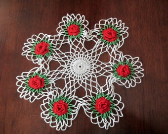 vintage crocheted white doily - red and green flowers, Christmas