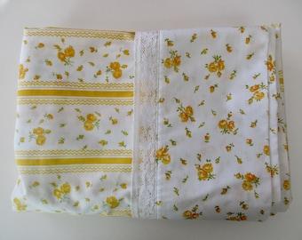 vintage twin flat SHEET-cotton, yellow, flowers, striped