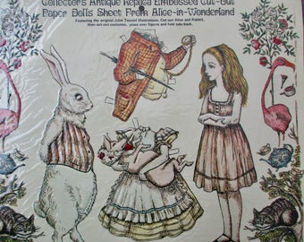 80s vintage Alice in Wonderland paper dolls - new in original package, white rabbit, pig, Merrimack Publishing