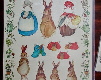 80s vintage Peter Rabbit paper dolls - new in original package, Easter, bunny, Merrimack Publishing