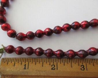 vintage red MERCURY GLASS BEAD garland - 80in, Japan, 1/4in beads