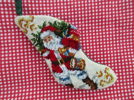 Vintage Needlepoint Christmas Stockings.Small Vintage Needlepoint Christmas Stocking Ornament With Santa And Drum Red Green