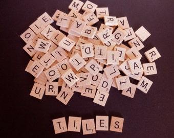 SALE - 100 scrabble tiles - game- wood-letters-tiles-alphabet-words-assemblage-anagram