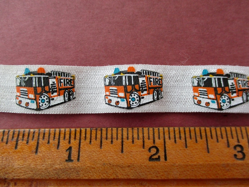 5 yards of firetruck elastic trim new firefighters first image 0