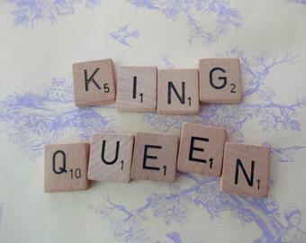"""vintage scrabble tiles - 9 tiles, """"king, queen""""-words, letters, alphabet, assemblage"""
