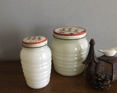 anchor hocking fire king ivory grease jar tulips