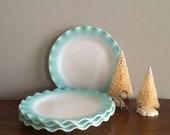 hazel atlas ripple crinoline aqua dinner plate (s)