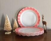 hazel atlas ripple crinoline pink dinner plate (s)