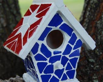 Mosaic Birdhouse Americana Ornamental