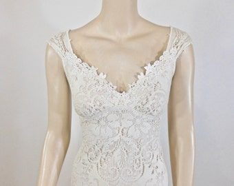 Ivory Gown Lace Wedding Dress BOHO Vintage Inspired Cap Sleeve BOHEMIAN Sz Small