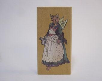 Joanne West 1999 vintage rubber stamp CAT gardening angel Personal Stamp Exchange K7007 dhrs