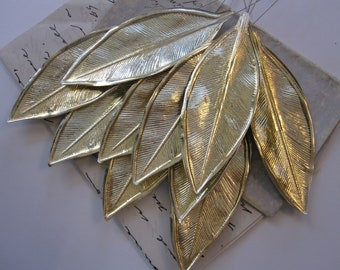 38489a39a 10 vintage foil paper leaves - 3.25 inch gold foil leaves - corsage supply,  millinery supply - made in Japan