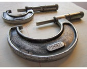 2 vintage MICROMETERS - Starrett and J. T. Slocomb brands - 0 to 1 inch and 1 to 2 inch sizes