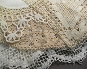 4 vintage LACE doilies and table runners - off white, fine detailing, lace - reclaimed lace, recycle, repurpose, reuse - 0905A
