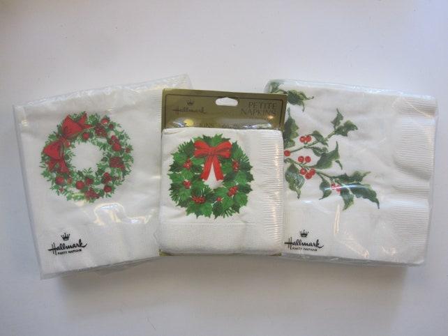 3 pkg vintage Hallmark Christmas napkins - beverage and coaster napkins for holiday entertaining