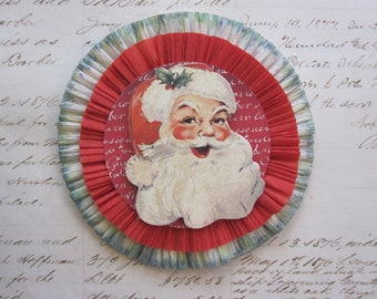 handmade holiday crepe rosette - SANTA CLAUS - 4 inches - crepe rosette corsage, crepe ornament, package topper