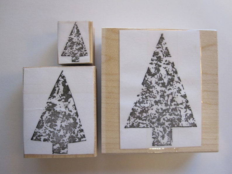 gently used stamps 3 rubber stamps arrows 3 sizes pointed tree shapes sponge texture trees
