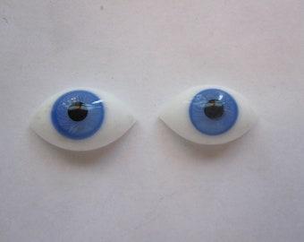 vintage glass doll eyes - oval pinch back eyes - 12mm x 22mm - blue glass doll eyes - blown glass doll eyes - PBBL01