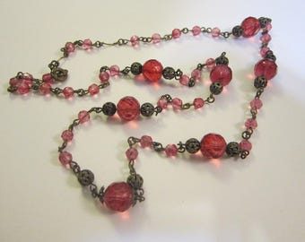 vintage rosary style necklace - PINK faceted glass with filigree bead caps - rosary style, 30 inches