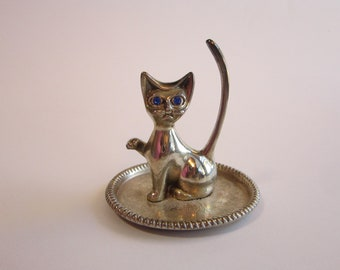 vintage silver plated CAT ring dish - blue rhinestone eyes