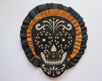 handmade SUGAR SKULL crepe rosette - black and orange crepe - 5 x 5.25 inches