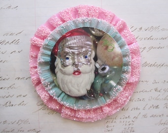 handmade holiday crepe rosette - glittered crepe - 4 inches - crepe rosette corsage, crepe ornament, package topper