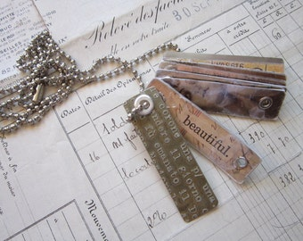 handmade dogtag necklace - etched metal, collage, mica, ball chain