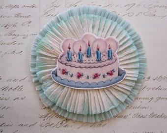 handmade BIRTHDAY CAKE crepe rosette - aqua and blue crepe rosette - 4 inches - crepe rosette corsage, crepe ornament, package topper