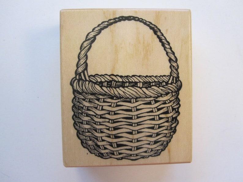vintage rubber stamp used rubber stamp willow basket stamp PSX G-1373 country basket stamp 1994