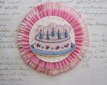 handmade BIRTHDAY CAKE crepe rosette - pink crepe rosette - 4 inches - crepe rosette corsage, crepe ornament, package topper