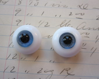 2 vintage glass doll eyes - solid glass paperweight eyes - 18mm and 20mm mismatch glass eyes, blue irises - blown glass doll eyes, as is